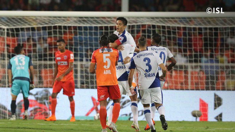 Sunil Chhetri's two goals in the first half ensured Bengaluru FC the three points